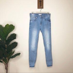 Zara Woman light raw hem distressed skinny jeans